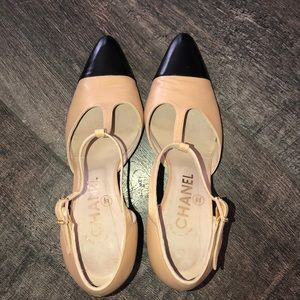 CHANEL Shoes - Authentic Chanel t strap pumps two tone heels